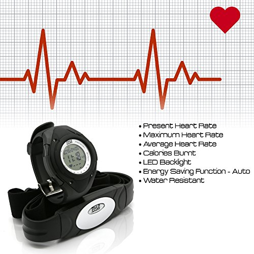 PYLE PHRM38BK Water-Resistant Digital Sport Watch with Heart Rate Monitor Black