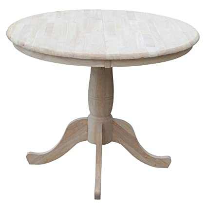 International Concepts 36 Inch Round Extension Dining Table With 12 Inch  Leaf, Unfinished