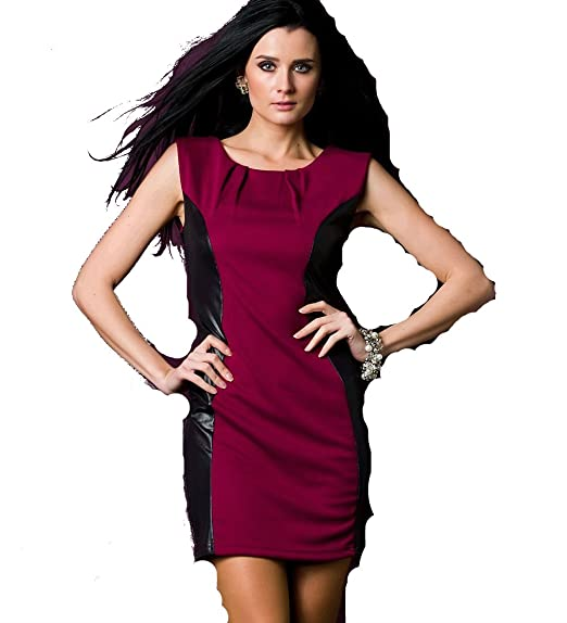 636aabcff003d Glamarous Celebrity Style Rouge Noir Contraste Bandage Crayon Fin Robe Posh  Style à Rayures Spirale Celebrity