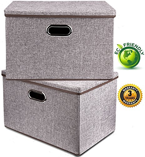 Large Foldable Box (Large Linen Fabric Foldable Storage Container [2-Pack] with Removable Lid and Handles,Storage bin box cubes Organizer - Gray For Home, Office, Nursery, Closet, Bedroom, Living Room)
