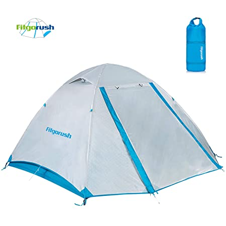 Fitgorush 2 Person Camping and Backpacking Tent Easy to Set Up, Lightweight and Waterproof 3 Season Family Dome Outdoor Tent with Carry Bag, Dual Doors Design