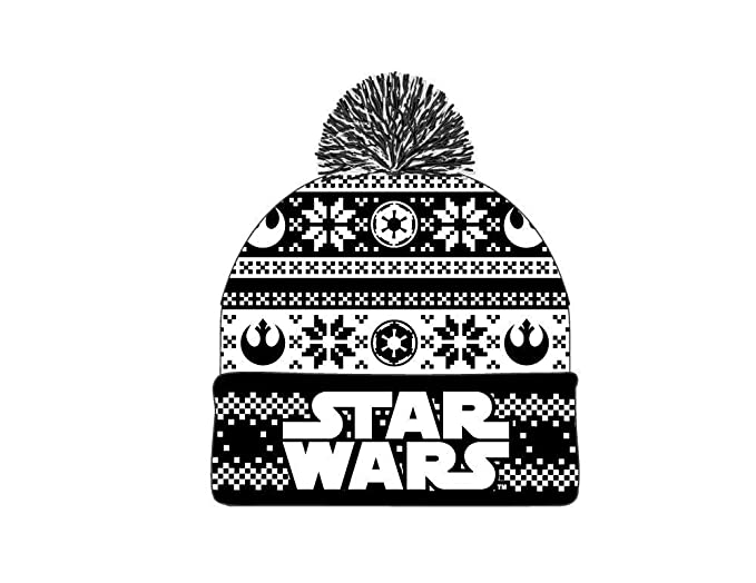 2b5ede7edc4 Image Unavailable. Image not available for. Color  Star Wars Holiday  Embroidered Logo Jaquard Knit Beanie Hat ...