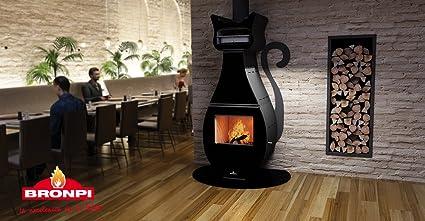 Estufa con horno diseño gato negro con base cristal
