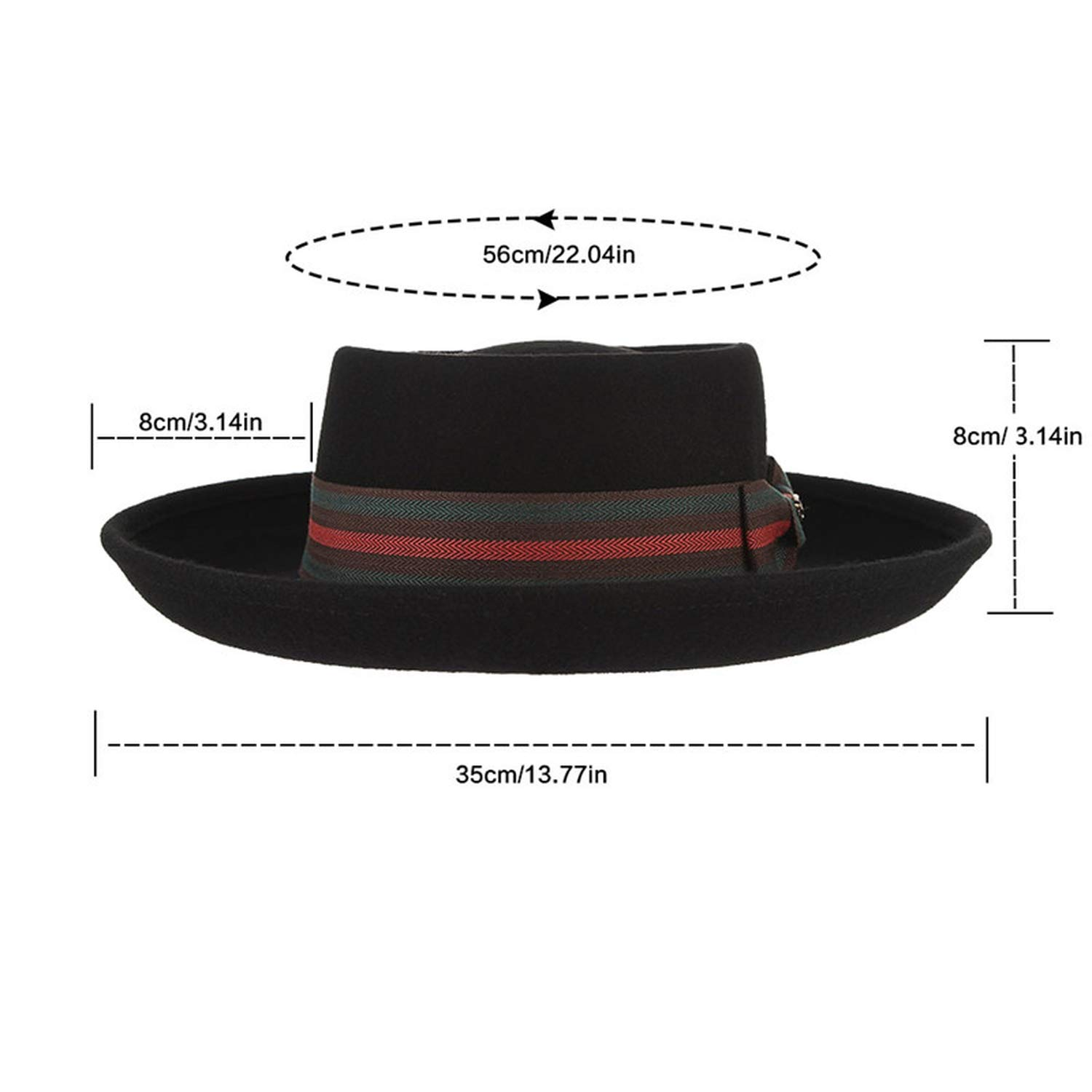 Fedora Hats 100/% Wool High-Grade Felt Hat for Men Women Vintage Unisex Classical Flat-top Wide Brim Jazz Cap