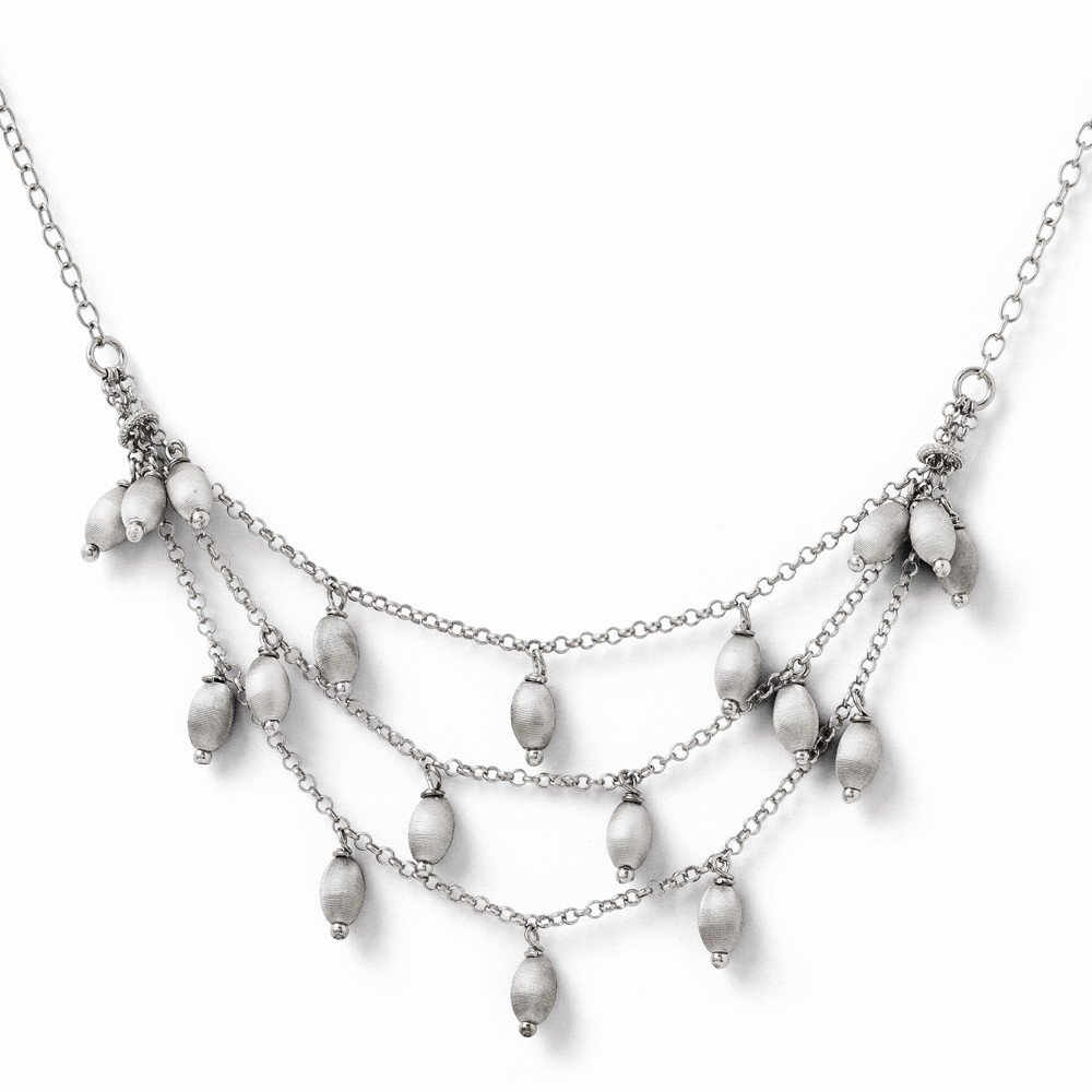 Jewelry Necklaces Bead and Station Necklaces Leslies Sterling Silver and Textured Beads Triple Strand Necklace