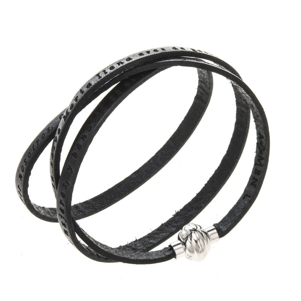 Amen Bracelet in black leather Hail Mary SPA, 60 cm (23.64 inc.)