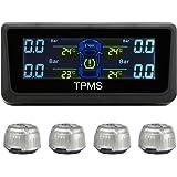 RAFXLY TPMS Auto Reifendruckkontrollsystem Reifendruckmesser Reifendruckprüfer Überwachungssystem mit 4 Sensoren,Solar-ladegerät und Farb-LCD Display Tire Pressure Monitor System