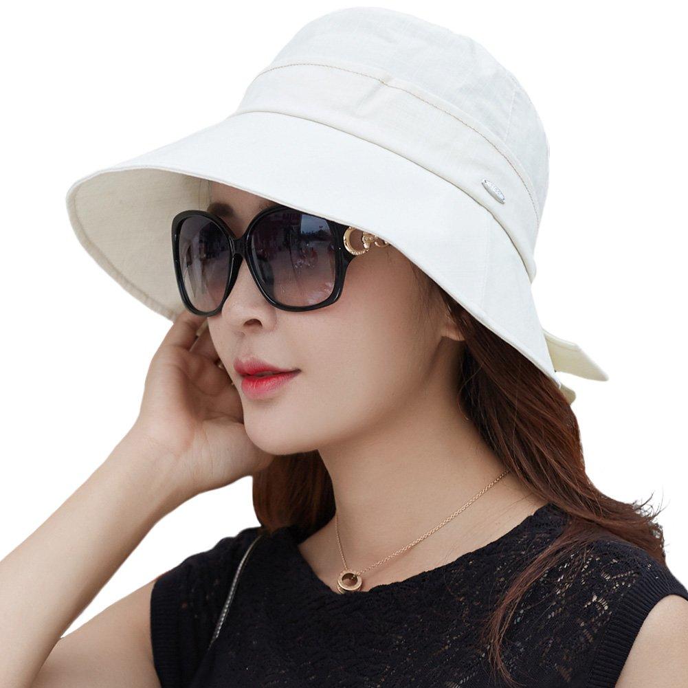 Womens Packable Short Brim Canvas Sun Bucket Hat Beach Safari Hiking Protection Bonnie SPF Beige White