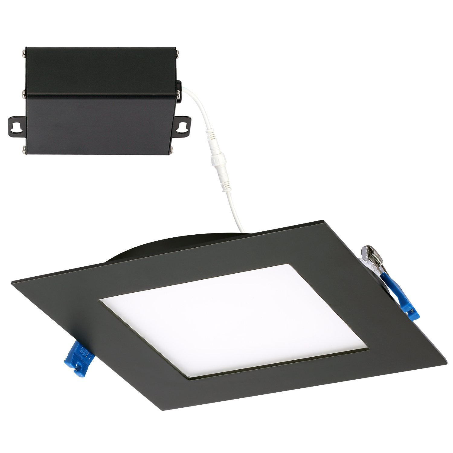 GetInLight Slim Dimmable 6 inch LED Recessed Lighting, Square Ceiling Panel, Junction Box Included, 4000K(Bright White), 12W, 800lm, Black Finished, cETLus Listed, IN-0308-2-BK-40