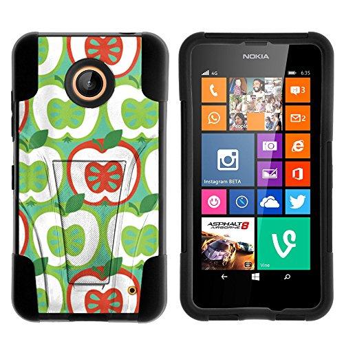 atible w/ Nokia Lumia 635 Case, Nokia Lumia 630 Case, Fusion STRIKE Impact Stand Case w/ Exclusive for Nokia Lumia 635, 630 (AT&T, Sprint, T Mobile, Cricket, Virgin Mobile, Boost Mobile, MetroPCS) Green Red Apple ()