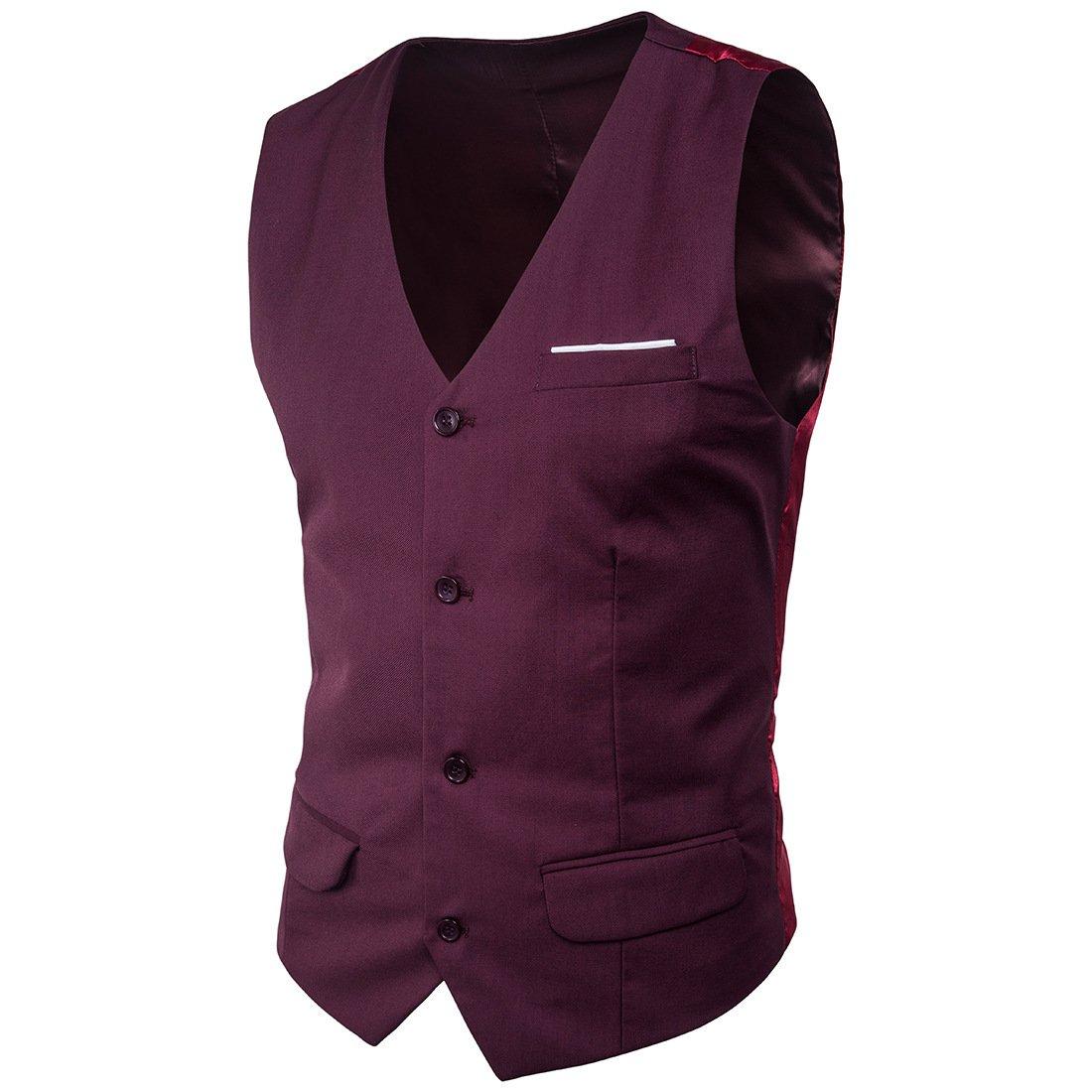 7dress Men's Slim Fit Suit Vests V-Neck Formal Business Sleeveless Dress Bridegroom Suit Separate Waistcoat by 7dress (Image #2)