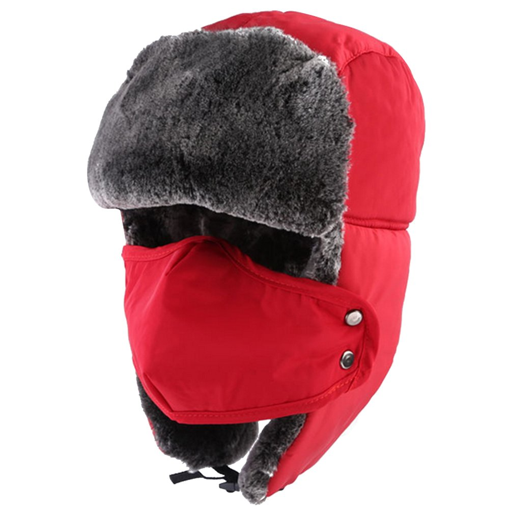 Unisex Winter Warm Thick Faux Fur Windproof Splashproof Motorcycle Ski Snowboard Hat Cap Face Ear Neck Warmer Hat with Breathable Mask Gosear