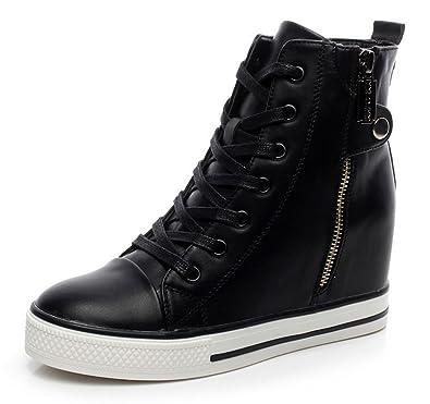 d0bc1a88efe PADGENE Baskets Mode Compensées Montante Sneakers Tennis Chaussures Casuel  PU Cuir Lacet Fermeture éclair Femme (