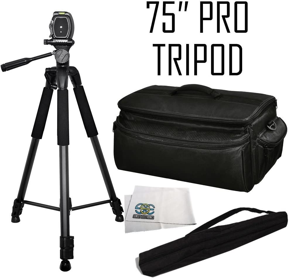 AG-HMC40 AG-AC8PJ AG-HMC80 AG-HMC150 AG-AC160A Professional 75 Tripod 3-Way Panhead Tilt Motion w//Bubble Leveler /& Rugged Series Water Resistant Carrying Case for Panasonic AG-AC7 AG-AC130A