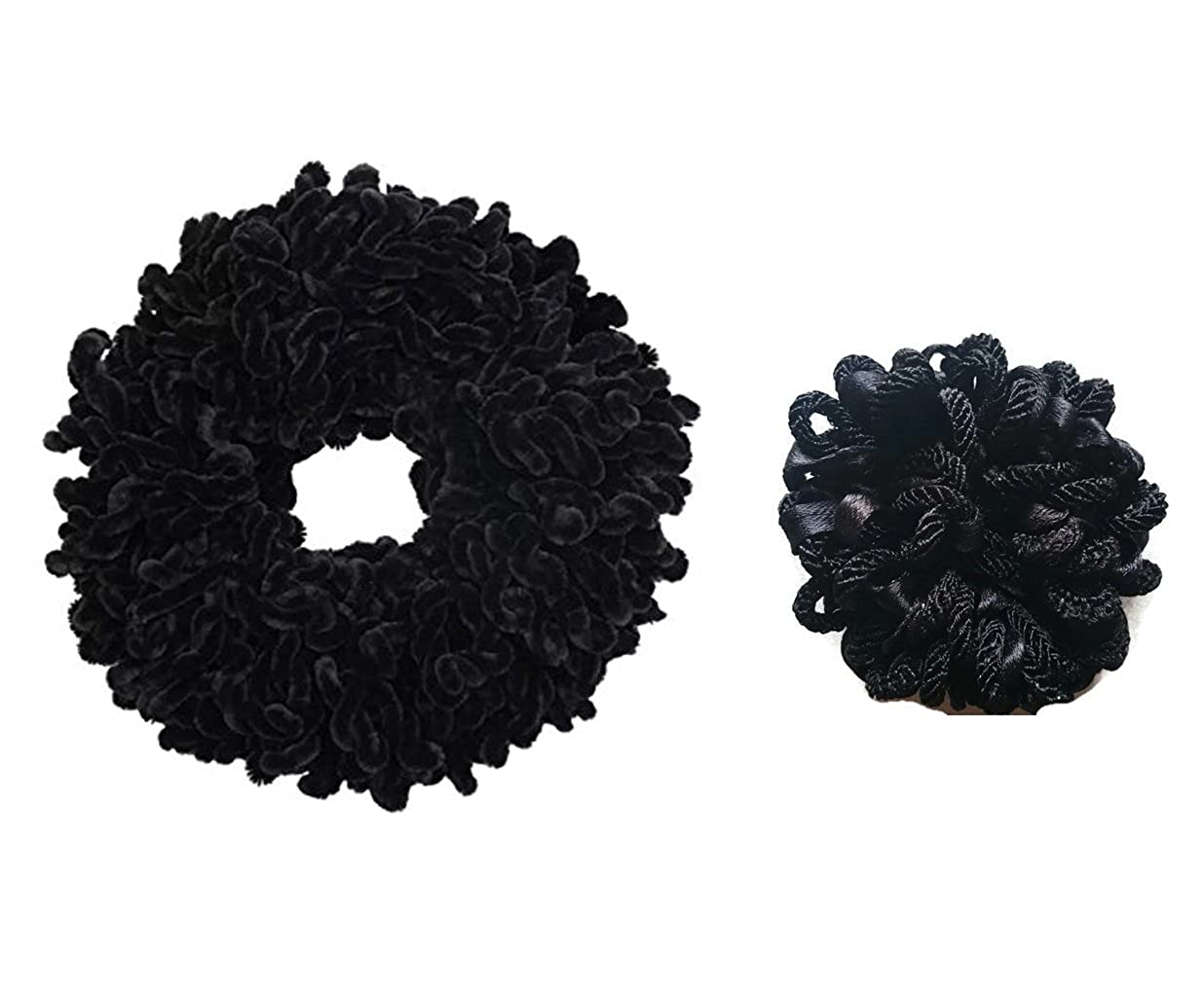 2 x Volumising Velvet Scrunchie Hair Tie Bun Hijab Volumizer 1 Large 1 Small