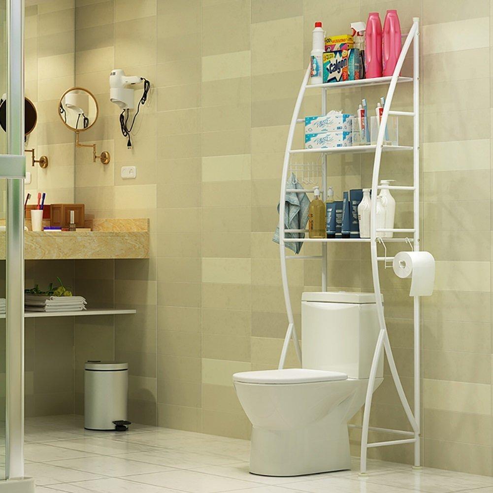 DIDIDD Shelf-Hwf Bathroom Shelves Toilet Rack Parcel Rack Sundries Storage Rack Floor Type Three Layers with Paper Holder