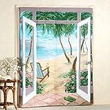 """Island Breeze Trompe l'oeil Window Art Curtains-Set of Two-72"""" x 84"""""""