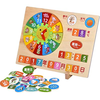TOYANDONA 1 Set Wooden Sorting Clock Wooden Teaching Learning Puzzle Clock Educational Toys for Kids (Assorted Color): Toys & Games
