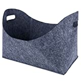 Toogoo 2 pieces felt basket for firewood, firewood basket, oval shape, with two handles, anthracite, 39 x 22 x 27.5 cmd