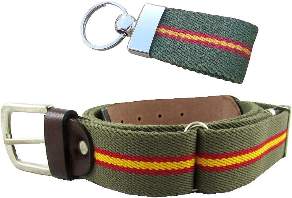 Tiendas LGP – Cinturón Bandera de España de Lona elástica color Verde y Piel de Vacuno, extensible, válido para cualquier Talla + Llavero de Lona Verde: Amazon.es: Ropa y accesorios