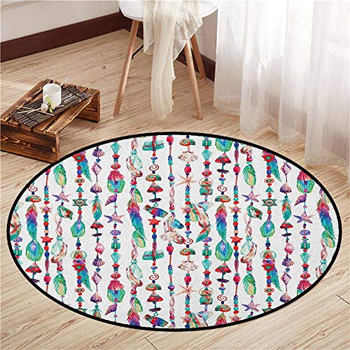 Kids Rugs,Feather,Marine Accessory Chains Pendants Mineral Stones Shells Beads Watercolor Style Art,Super Absorbs Mud,2'7