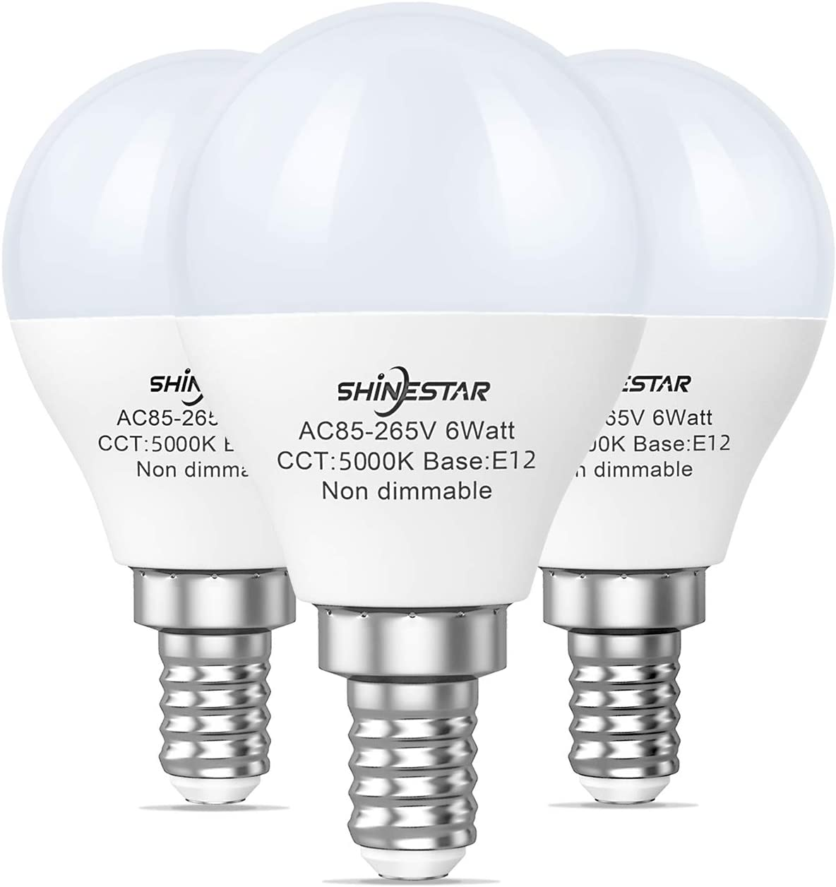 Amazon Com Shinestar 3 Pack E12 Led Ceiling Fan Light Bulbs 60 Watt Equivalent 120v Daylight White 5000k A15 E12 Led Bulb With Candelabra Base Small Round Light Bulb For Vanity Non Dimmable Home Improvement