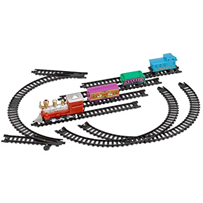 Kicko Mini Train Set with Tracks Toy - Battery Operated Classic Train Building Kit: Toys & Games