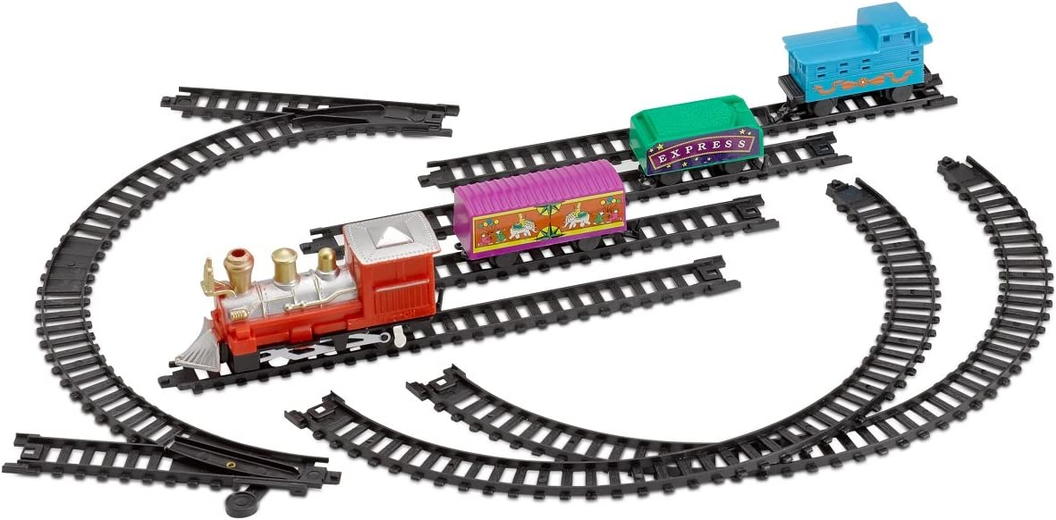 Kicko Mini Train Set with Tracks Toy - Battery Operated Classic Train Building Kit