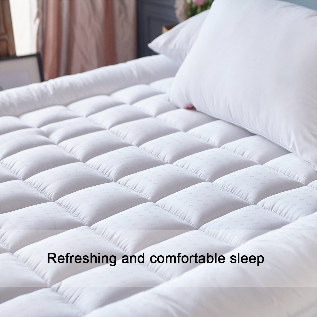 SONORO KATE Mattress Pad Cover Twin XL Size Down Alternative Mattress Topper Fitted Quilted (8-21-Inch Deep Pocket)- Hypoallergenic -(Twin XL, White) by SONORO KATE (Image #4)