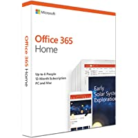 Microsoft Office 365 Home for 5 people (Windows/Mac Laptop + tablet) for 12 month/1 Year - (Activation Key Card)