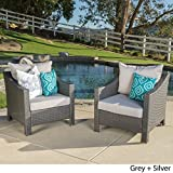 Caspian Outdoor Patio Furniture Grey Wicker Club Chair with Silver Water Resistant Fabric Cushions (Set of 2) For Sale