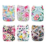 Babygoal Baby Cloth Diapers for Girls, One Size Reusable Washable Pocket Nappy, 6pcs Diapers+ 6pcs Microfiber Inserts+4pcs Bamboo Inserts 6fg27