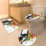 3 Piece Bathroom Rug Set Infant Video Game Featured Severa Size Mixed Square Shape Grid Cube Dsiplay Fabric S Extra Soft Memory Foam Combo - Rug, Contour Mat and Lid Cover