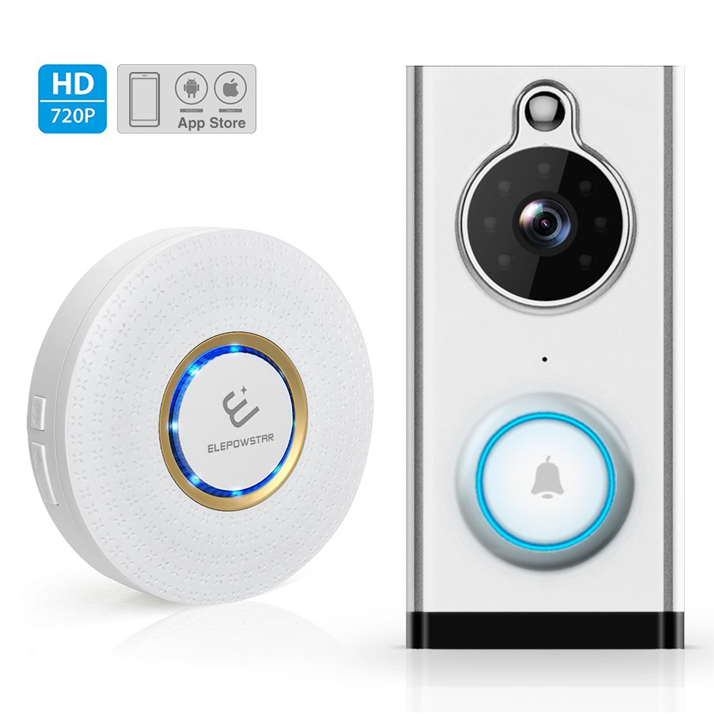 WiFi Video Doorbell Camera ELEPOWSTAR Wireless Video DoorBell with Chime 720P HD Smart Home Security Camera Real Time Video Two Way Talk Night Vision PIR Motion Detection App for IOS Android