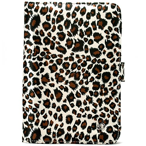Leopard Print on Premium Nylon Flip Portfolio Protection Cover Case for Amazon Kindle 3 ( WiFi - 3rd Generation ) + Includes Anti Glare Screen Protector Guard Includes a USB Data Sync Cable for Kindle 3