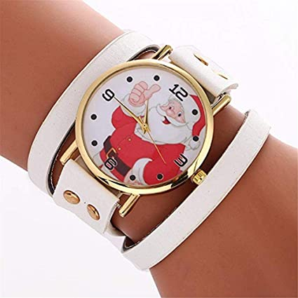 Womens Bracelet Watches Windoson Ladies Watches Christmas Santa Claus Female Watches Leather Chain Watch (White