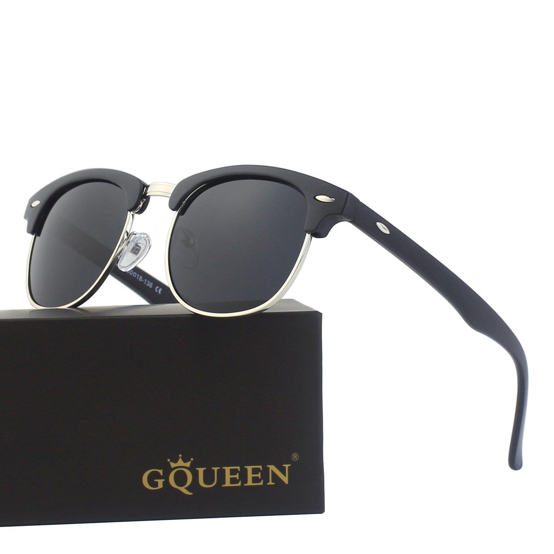 0ec6c8edb5 GQUEEN Clubmaster Horn Rimmed Half Frame Polarized Sunglasses GQO6 ...
