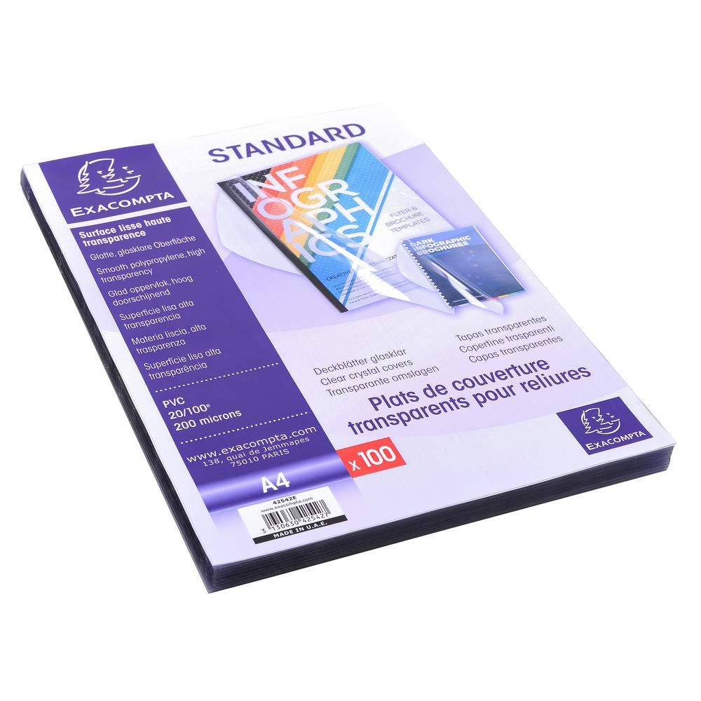 100 St/ück transparent Exacompta 42542E Einbanddeckel PVC, DIN A4