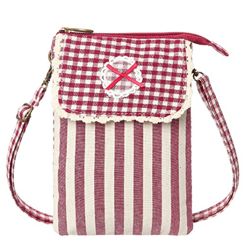 Cell Phone Purse Canvas Rurality Style Small Crossbody Purse Bags For Teen Girls(Red)