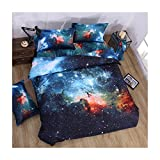 MIFE TEXTILE 4PCs 100% Polyester Duvet Cover Sets, 3D Galaxy Printing Themed, Comfortable, Soft Bedding Set(one bed sheet,one duvet cover and 2 pillow cases) QUEEN Size.