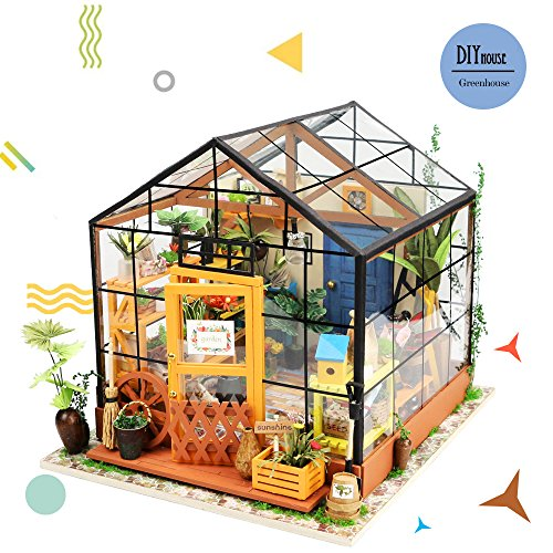 Rolife Wooden Room Model Kit-Flower House-Home Decoration-Pretty Party Playset- Miniature Dollhouse Set to Build-Birthday Easter Day Gifts for Girls Friends Girlfriends Mom Wife Daughter