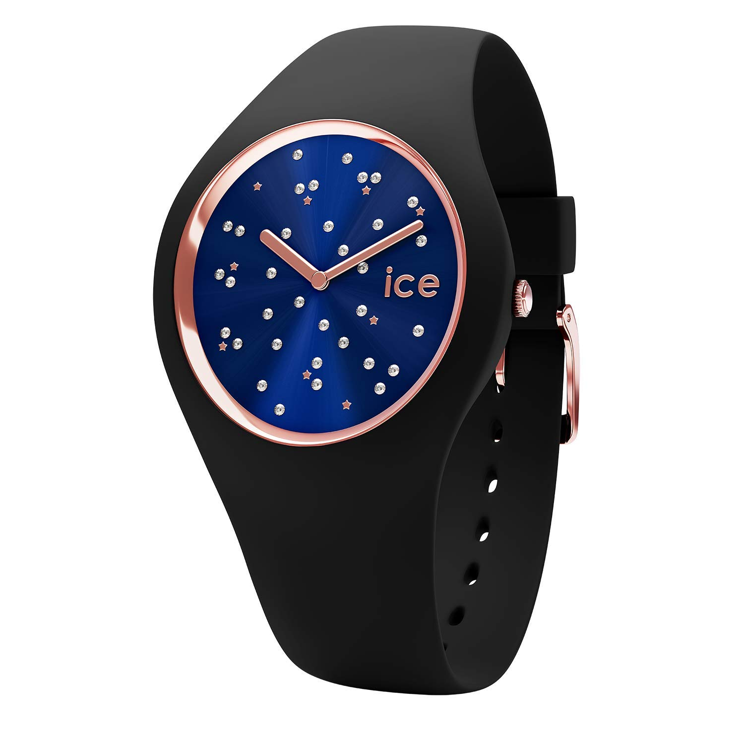 Ice-Watch - Ice Cosmos Star Deep Blue - Reloj Negro para Mujer con Correa de Silicone - 16294 (Medium)