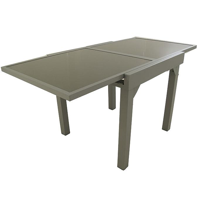 Conjunto para jardín Mesa Extensible 80/160 y 4 sillones apilables Respaldo 96 cm | Aluminio Color Gris y Cristal Gran Grosor Color taupé | 4 plazas | ...