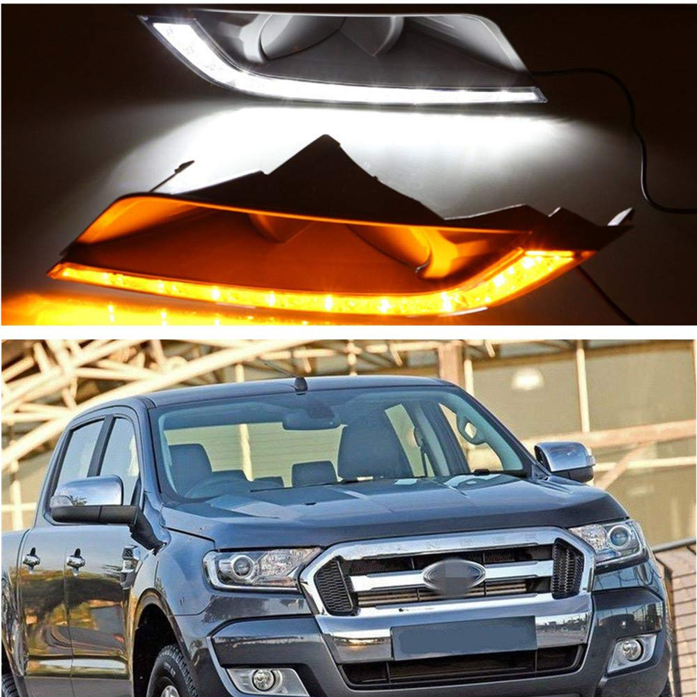 MotorFansClub LED Daytime Running Light Fog Lamp for Ford Ranger 2015 2016 2017 LED DRL Fog Light White LED as DRL & Yellow LED as Turn Signals(White & Yellow)
