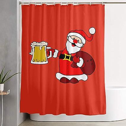 JJUSTING Christmas Santa Loves Beer Shower Curtain Waterproof Polyester Fabric Sets Decoration Decor