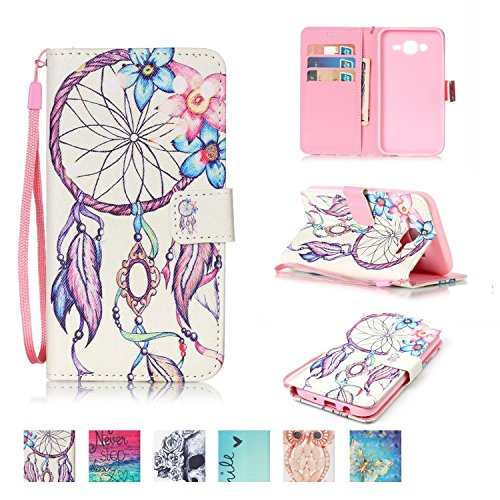 [Galaxy J5 2015 Case, Firefish [Card Slots] [Kickstand] Flip Folio Wallet Case Synthetic Leather Shell Scratch Resistant Protective Cover for Samsung Galaxy J5 2015] (Sync Leather)