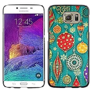 QCASE / Samsung Galaxy S6 SM-G920 / arte decoraciones para árboles de Navidad retro vintage / Delgado Negro Plástico caso cubierta Shell Armor Funda Case Cover