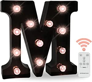 Black Marquee Letters With Lights, LED Light Up Letters Battery Operated Dimmable for Wall Decor, Wedding, Birthday Decorations -Black Letter M