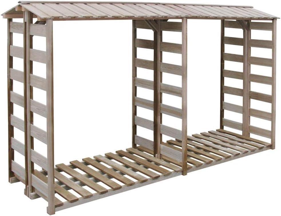 Wakects Caseta para leña 300x100x176 cm Madera de Pino impregnada FSC,Estante de Almacenamiento de Madera con Piso Elevado para Jardín,al Aire Libre,Familia: Amazon.es: Hogar