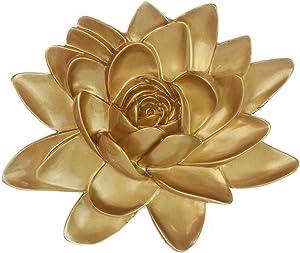 Moonlight,3D Resin Lotus Flower Wall Decor,Wall Hanging Decor Art,Decorative for Home Living Room,Bedroom,Bathroom,Garden(Gold,M)
